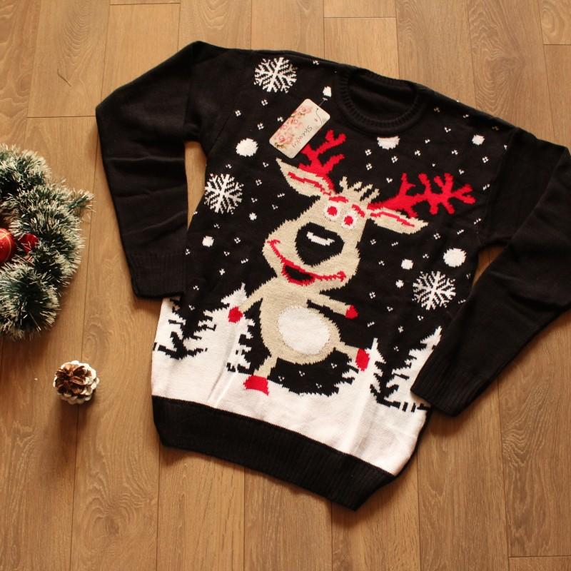 Коледен пуловер с Рудолф и снежинки