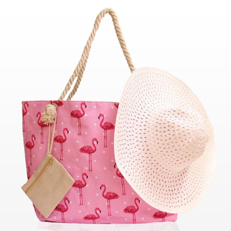 Комплект Плажна Чанта с Фламинго и Шапка