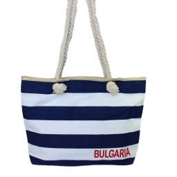Плажна чанта рае син и бял