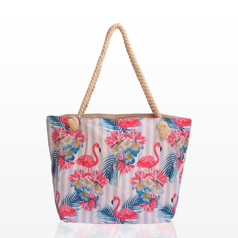 Плажна Чанта с фламинго и цветя
