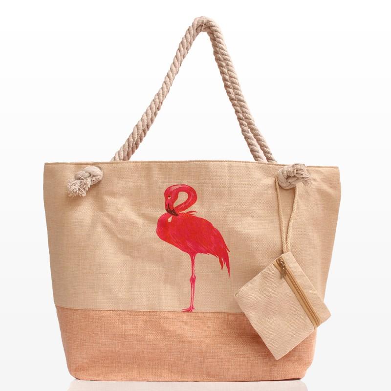 Плажна Чанта с Фламинго и Портмоне