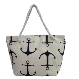 Плажна чанта с голями котви бежова