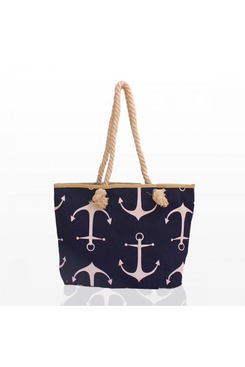 Плажна чанта с котва синя