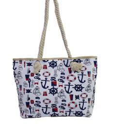 Плажна чанта с котвички бяла