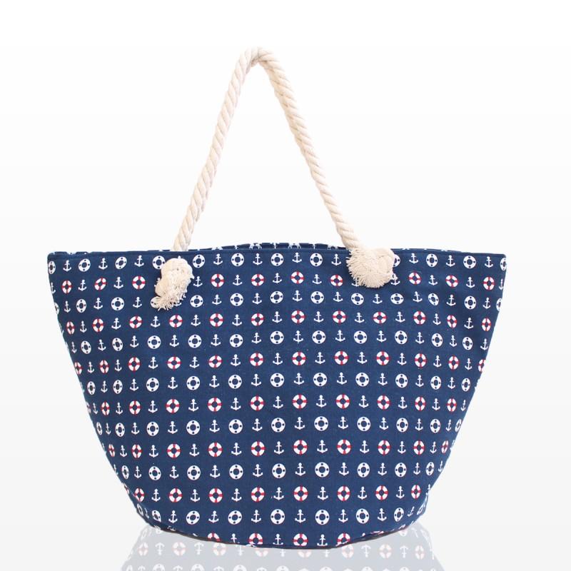 Плажна Чанта с кръгло дъно - тъмно синя