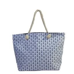Плажна чанта с малки котви бяла