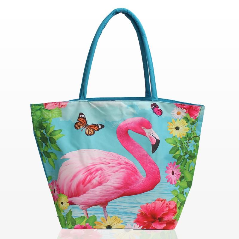 Плажна Чанта с принт фламинго и цветя