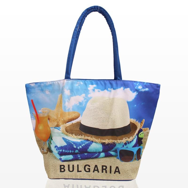 Плажна Чанта с принт шапка