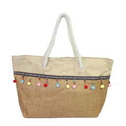 Плажна чанта с висулки кафява