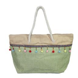 Плажна чанта с висулки зелена