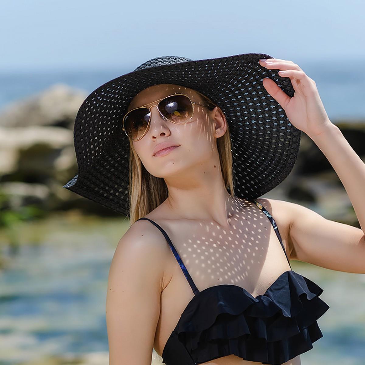 Плажна шапка черна Снимка 3 от 4