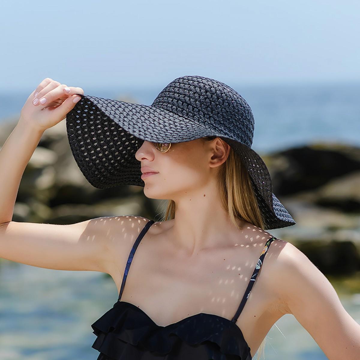 Плажна шапка черна Снимка 4 от 4