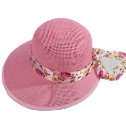 Плажна шапка розова с шалче