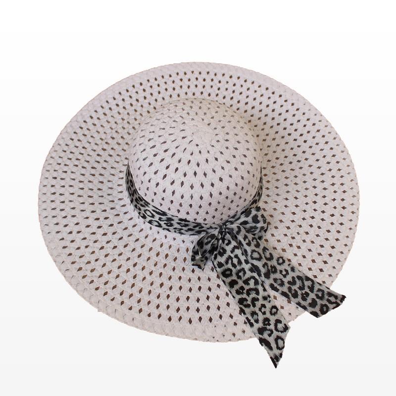 Плажна шапка с голяма периферия и шалче - бяла