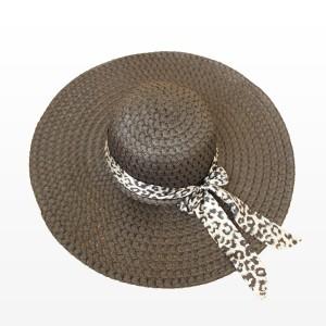 Плажна шапка с голяма периферия и шалче - черна