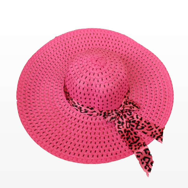 Плажна шапка с голяма периферия и шалче - розова