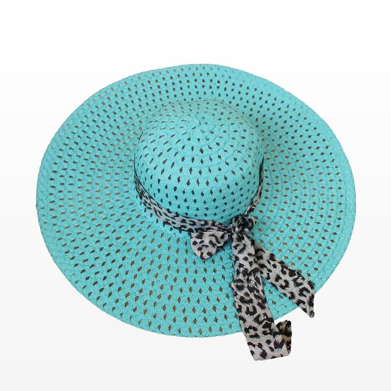 Плажна шапка с голяма периферия и шалче - синя
