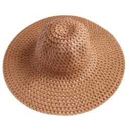 Плажна шапка с голяма периферия кафява