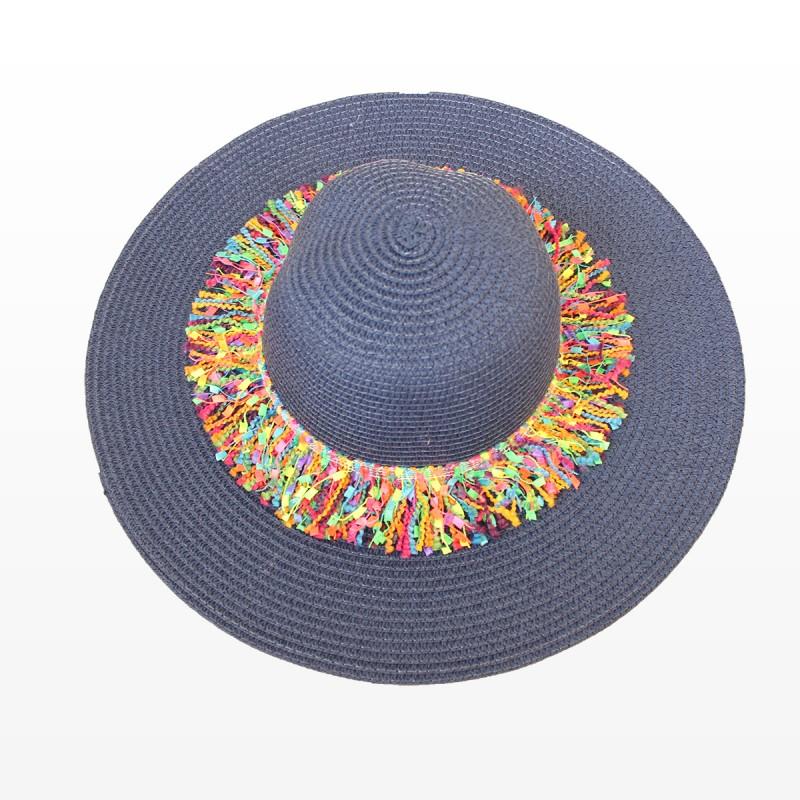 Плажна шапка в тъмно синьо