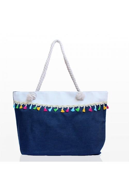 Плажни Чанти с Пискюли - Тъмно синя