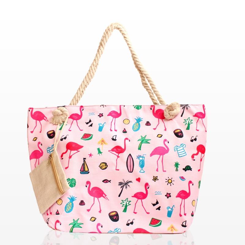 Плажни Чанти с Принт Фламинго и Портмоне