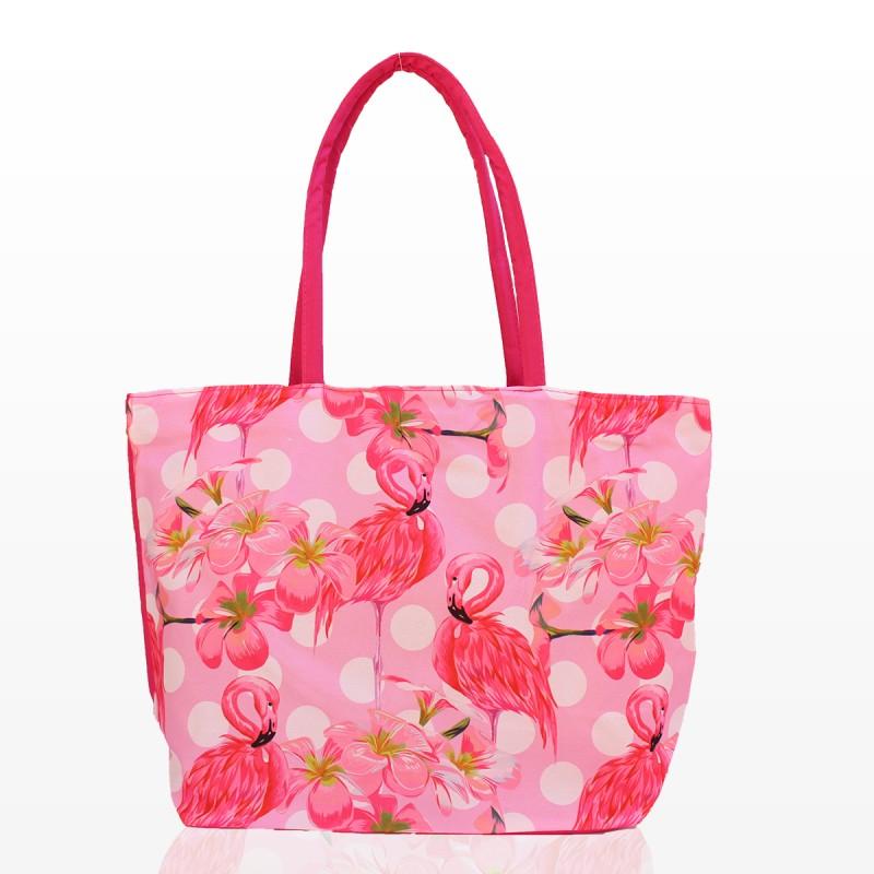 Плажни Чанти с принт розово фламинго