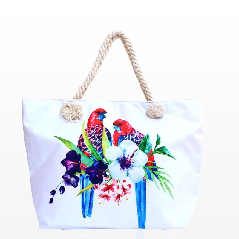 Плажни Чанти в Бял цвят и Апликация