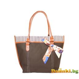 Кокетна плажна чанта с шалче - тъмно кафява