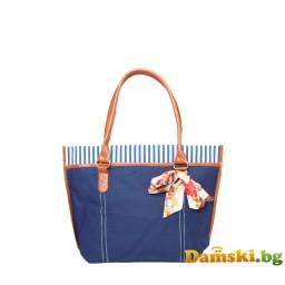 Кокетна плажна чанта с шалче - синя