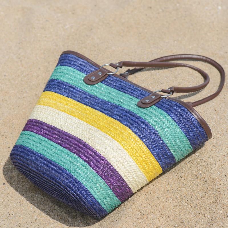 Плетени плажни чанти - цветни