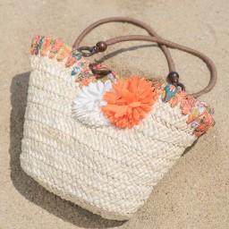Плетени плажни чанти с цветя
