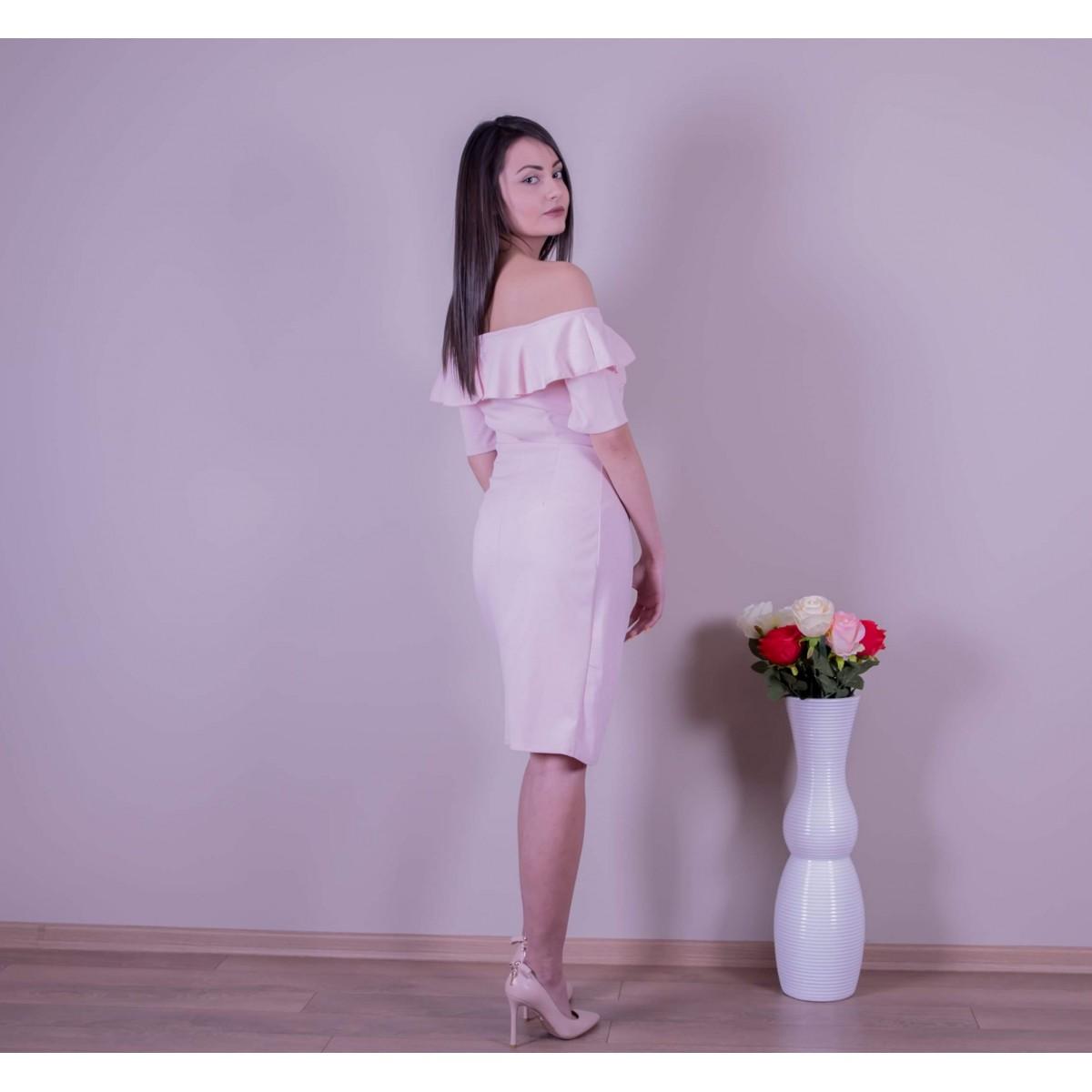 Розова рокля с цепка  Снимка 2 от 3