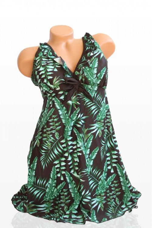 Макси Танкини в Черен Цвят и Зелени Цветя - Чашка D