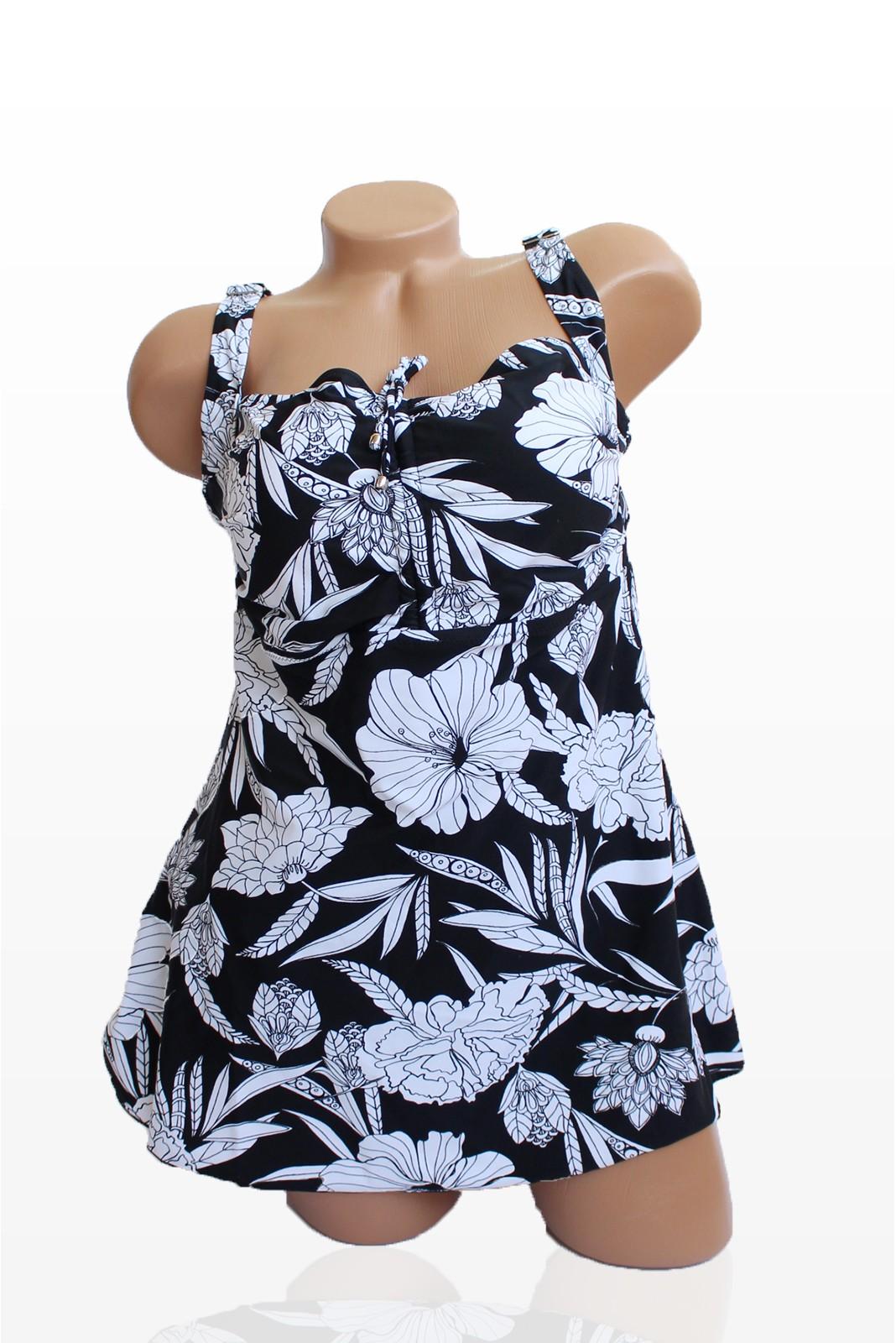 Танкини в черен цвят и бели цветя - чашка D Снимка 4 от 4