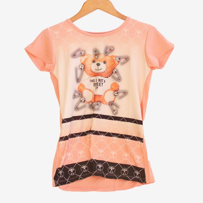 Дамска розова тениска с мече