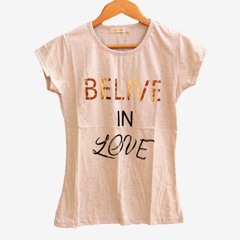 Дамска сива тениска с къс ръкав