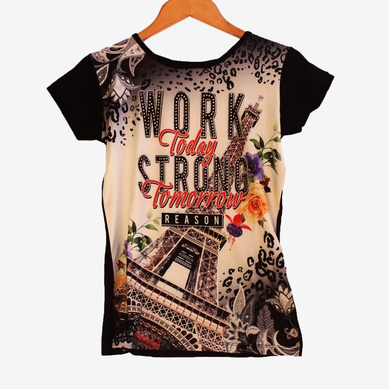Дамска тениска Париж в черен цвят