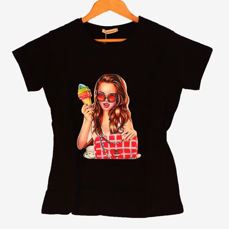 Дамска тениска с 3D апликация в черно