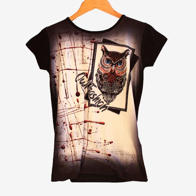 Дамска тениска с бухал в черен цвят