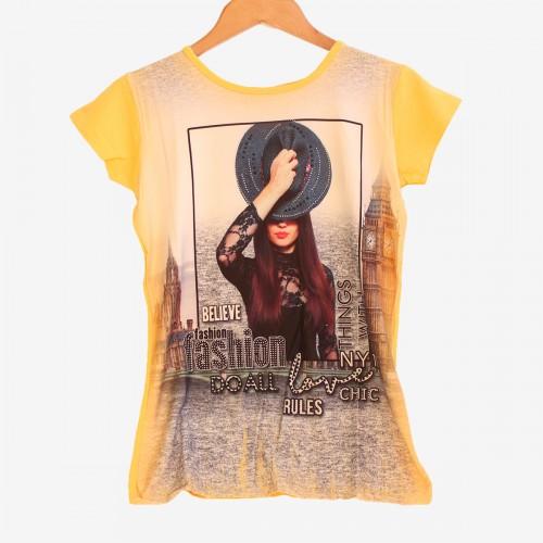 Дамска тениска с принт в жълт цвят