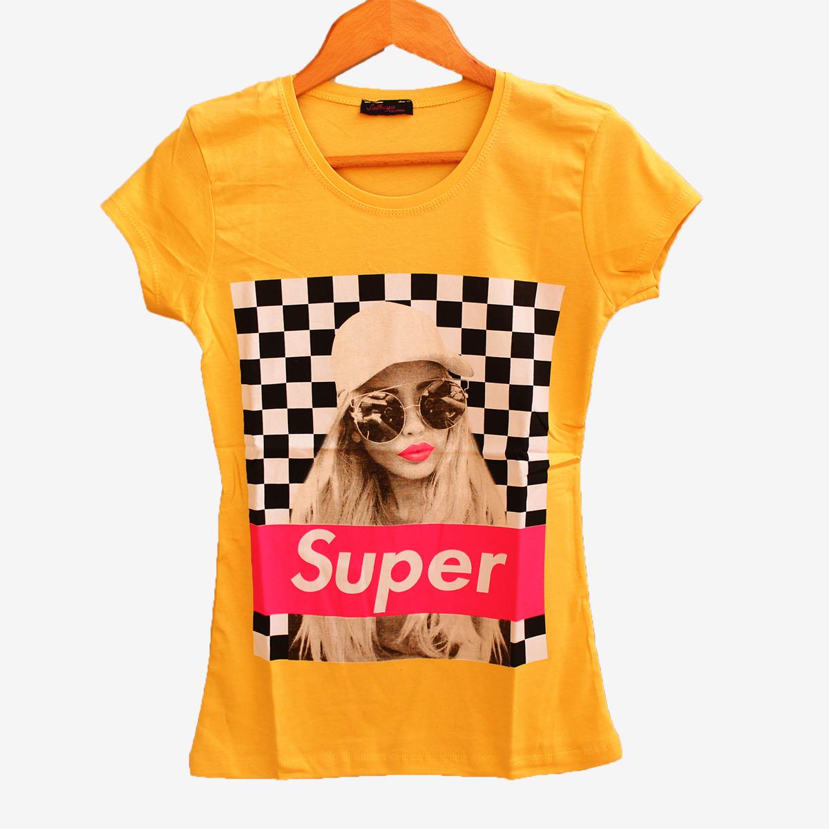 Жълта дамска тениска с принт