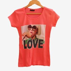Прасковена тениска с щампа