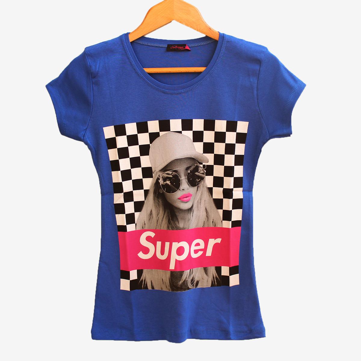 Синя дамска тениска с принт