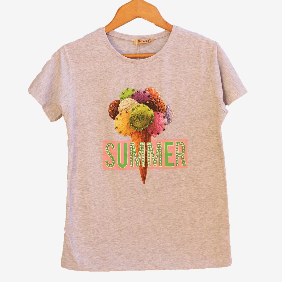 Сива блуза с къс ръкав Ice Cream