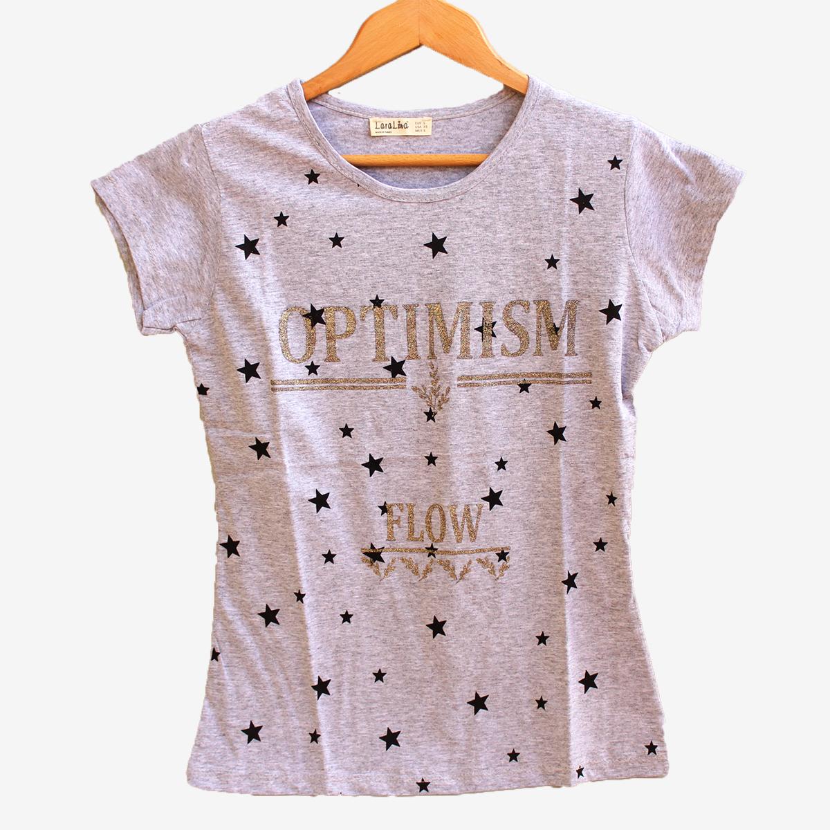 Сива тениска със звездички