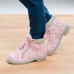 Топли дамски боти - Розови