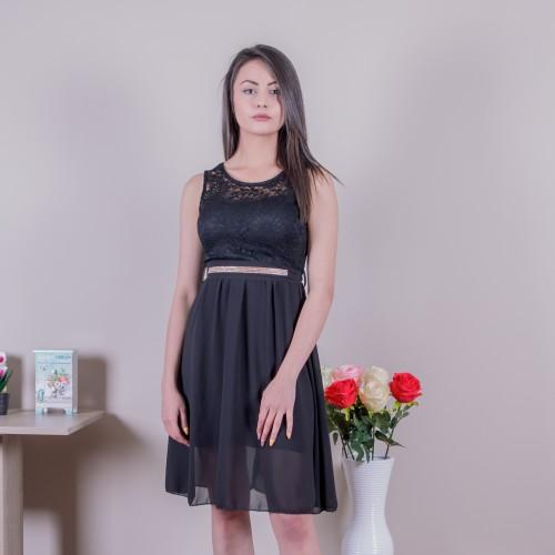 Черна дамска рокля с коланче