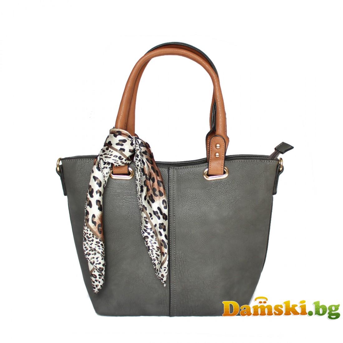 Елегантна дамска чанта Лейди - сива