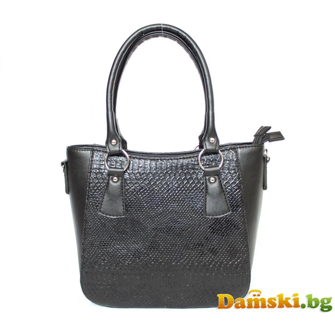 Стилна дамска чанта - черна
