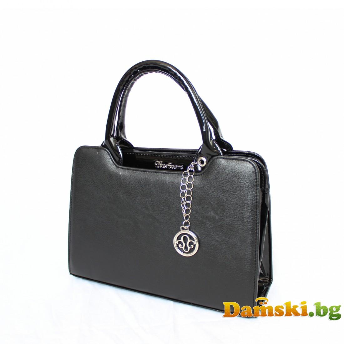 Стилна дамска чанта Хриси - черна